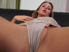 Glass dildo solo action by athletic blonde Whitney Conroy