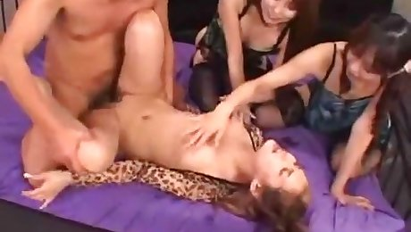 Bukkake. Beautiful Japanese face gets cum drenched by 30 guys